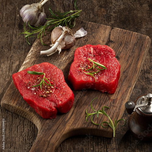 fresh raw fillet steaks - 182199403