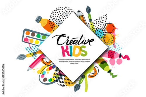 Kids art craft, education, creativity class concept. Vector horizontal banner or poster with white square paper background, hand drawn letters, pencil, brush, watercolor paints. Doodle illustration. - 182200680