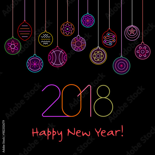 Foto op Canvas Abstractie Art Happy New Year neon vector design