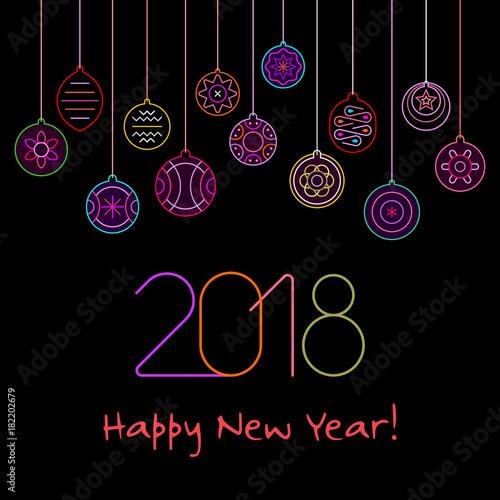 Fotobehang Abstractie Art Happy New Year neon vector design