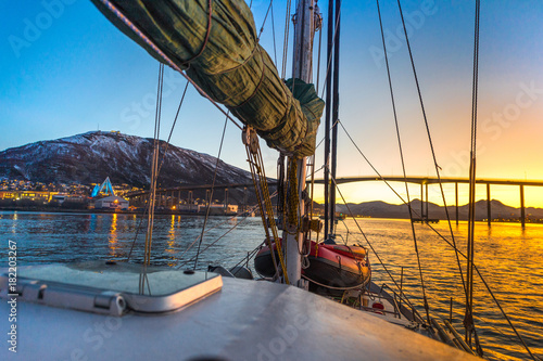 sailboat at sunset,Tromso,Norway Poster