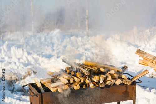 Deurstickers Brandhout textuur Firewood. A lot of firewood lie in a heap.
