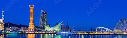 Tuinposter Donkerblauw 神戸港の風景,夜景