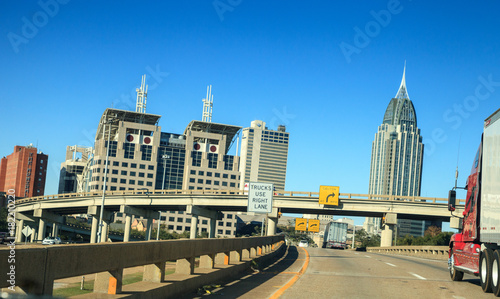 Downtown Mobile, Alabama with skyscrapers