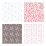 set of vector seamless floral and leaf patterns, abstract background illustrations - 182214407
