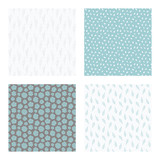 set of vector seamless floral and leaf patterns, abstract background illustrations - 182214454