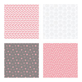 set of vector seamless floral and leaf patterns, abstract background illustrations - 182215288