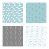 set of vector seamless floral and leaf patterns, abstract background illustrations - 182215400