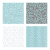 set of vector seamless floral and leaf patterns, abstract background illustrations - 182215495