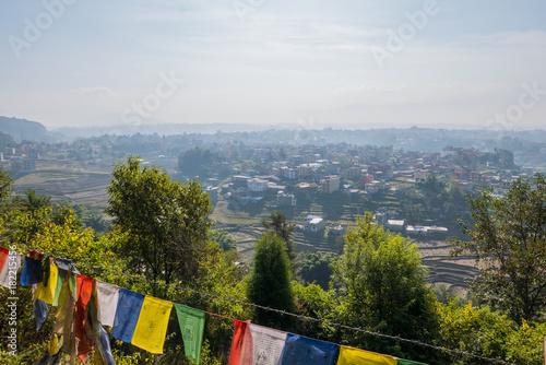 Foto op Aluminium Blauwe hemel Blick über das Kathmandu Tal in Nepal