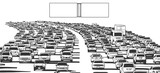Illustration of rush hour traffic jam on freeway in black and white with blank signs - 182217686