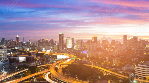 Keuken foto achterwand Shanghai City and highway intersection with beautiful after sunset sky cityscape background