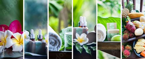 Leinwanddruck Bild Organic cosmetics, natural fruit oils. Concept spa, skin care, ecological and organic natural cosmetics. Collage, set