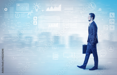 Businessman walking with database concept around Poster