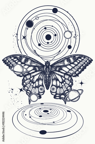 3c7c47b943d50 Butterfly and universe tattoo, geometrical style. Mystical symbol of  freedom, nature, tourism