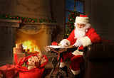 Portrait of Santa Claus answering Christmas letters. - 182224864