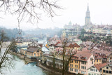 The Aare River wraps around the Old City of Bern, Switzerland. - 182227077