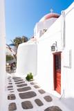Mykonos, Greece (September 2017). The narrow streets on the island of Mykonos, typical of the Greek island, greek colours - 182227869