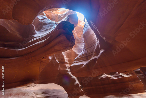 Foto op Plexiglas Bruin Upper Antelope Canyon. Natural rock formation in beautiful colors. Beautiful wide angle view of amazing sandstone formations. Near Page at Lake Powell, Arizona, USA