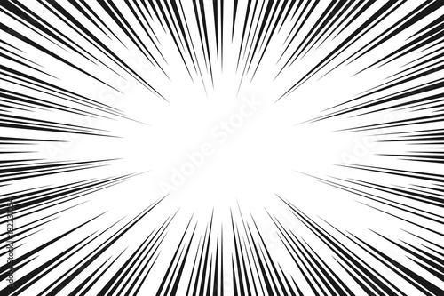 Black and white radial lines comics style backround. Manga action, speed abstract. Vector illustration - 182231054