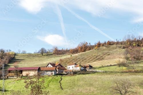 Foto op Aluminium Blauwe hemel landscape of mountain rural houses