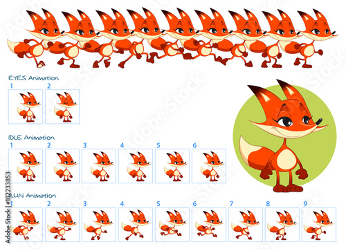 Deurstickers Kinderkamer Run, blinking eyes and idle animations of cartoon fox character.