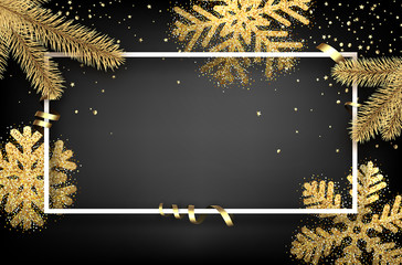 Winter background with fir branches and snowflakes.