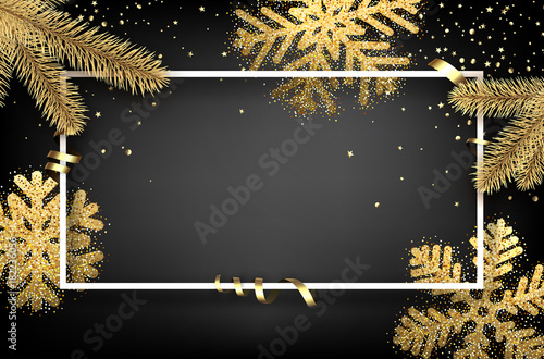 Winter background with fir branches and snowflakes. - 182236056