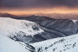 Mountain in the winter time during sunset. Natural landscape in the winter time