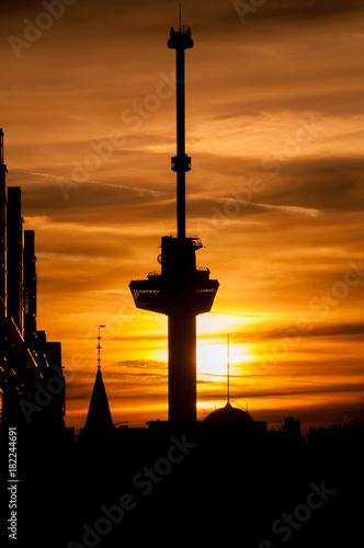 Poster Rotterdam Euromast Sunset