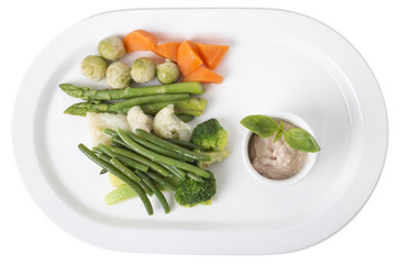 Delicious steamed vegetables with tofu sauce.