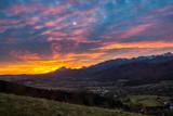 Dawn over peak Havran and Zakopane in Tatra mountains from Koscielisko, Poland - 182247063