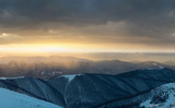 Mountains in the winter time during sunset. Natural landscape in the winter time