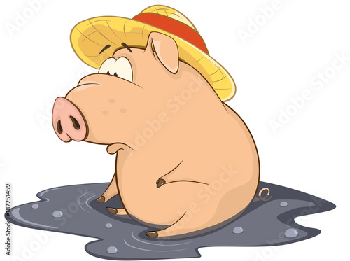 Staande foto Babykamer Illustration of a Cute Pig. Cartoon Character