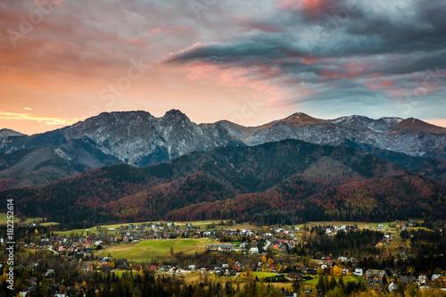 Dawn over the peak Giewont in Tatra mountains, Zakopane, Poland Poster