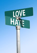 love and hate sign