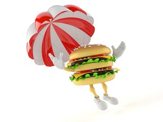 Hamburger character with parachute