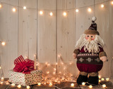 santa claus, gift boxes and lights - 182256015