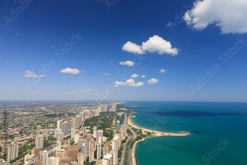 Plexiglas Chicago Chicago, lake shore drive, lake michigan, North Avenue Beach, aerial view,