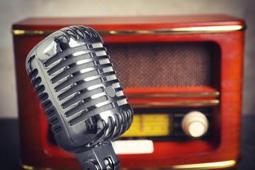 Retro microphone and radio, closeup
