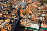 Brugge, Belgium - November, 2017.  Aerial Brugge medieval historic city. Brugge streets and historic center, canals and buildings. Brugge popular touristic destination of Belgium. - 182258615