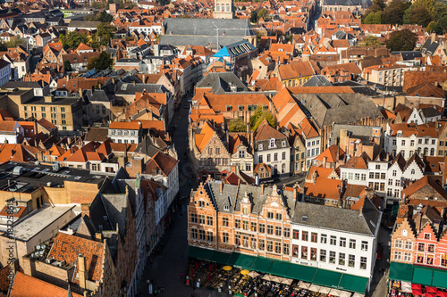Keuken foto achterwand Brugge Brugge, Belgium - November, 2017. Aerial Brugge medieval historic city. Brugge streets and historic center, canals and buildings. Brugge popular touristic destination of Belgium.
