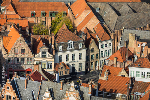Fotobehang Brugge Brugge, Belgium - November, 2017. Aerial Brugge medieval historic city. Brugge streets and historic center, canals and buildings. Brugge popular touristic destination of Belgium.