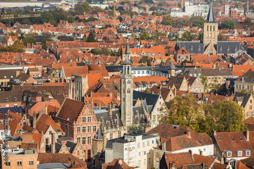 Foto Spatwand Brugge Brugge, Belgium - November, 2017. Aerial Brugge medieval historic city. Brugge streets and historic center, canals and buildings. Brugge popular touristic destination of Belgium.