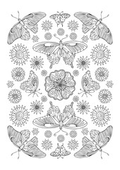 Background with fantasy decorative butterflies and flowers. Hand drawn picture. Sketch for anti-stress adult coloring book in zen-tangle style. Vector illustration for coloring page.