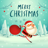 Merry Christmas! Santa Claus carrying sack with full of gifts in Christmas snow scene. Winter landscape. - 182267283