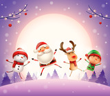 Merry Christmas! Happy Christmas companions. Santa Claus, Reindeer, Snowman and Elf jumping in the moonlight.