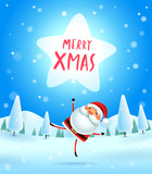 Merry Christmas! Santa Claus with star shaped balloon in Christmas snow scene. Winter landscape. - 182268423