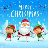 Merry Christmas! Santa Claus and Elves holding hands in Christmas snow scene. Winter landscape. - 182268454