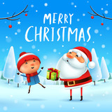 Merry Christmas! Santa Claus giving present to a kid in Christmas snow scene. Winter landscape. - 182268456